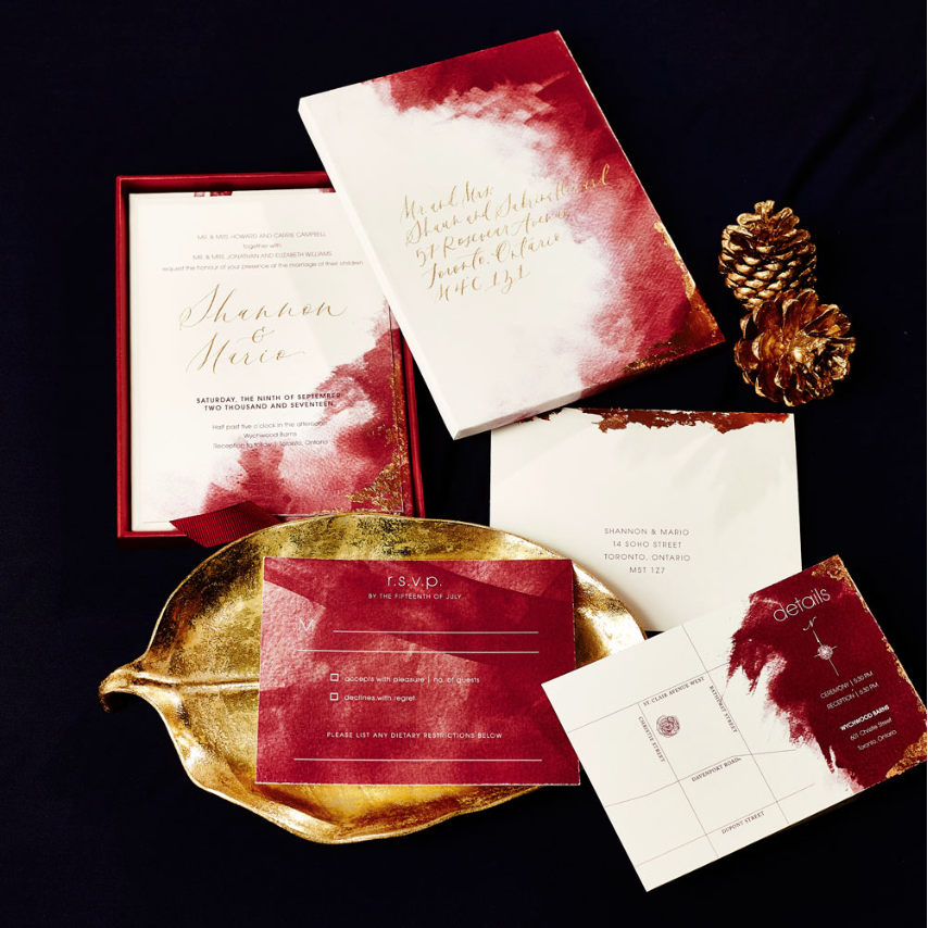 Marsala watercolour invites with gold calligraphy - The New Romance (Weddingbells)