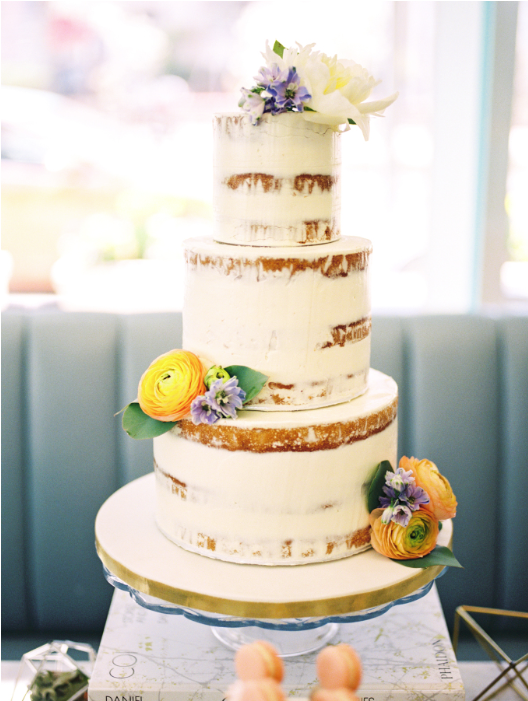 Half naked floral cake - A Parisienne Inspired Brunch Wedding (Style Me Pretty)