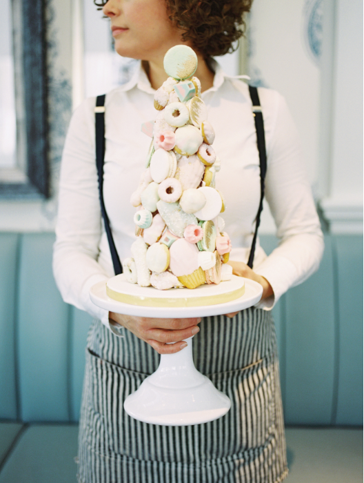 Mixed dessert tower - A Parisienne Inspired Brunch Wedding (Style Me Pretty)