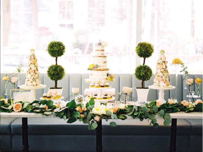 French Victorian Geometric Sweet Table - A Parisienne Inspired Brunch Wedding (Style Me Pretty)