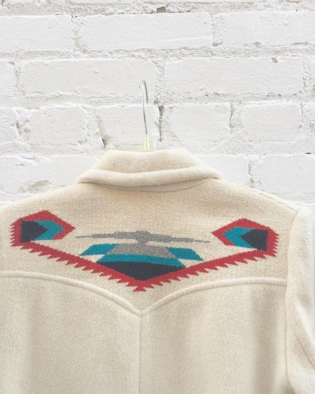 Back view: Golden vintage wool southwestern style jacket size 6/8 medium $79 #thatpoorgirlvintage #shoplocaljax #jaxsmallbusiness #jaxfl #jaxvintage #vintageshop #floridavintage #vintagestyle #wool #southwestern #western #south #cactus #cacti #70s #70sbabe