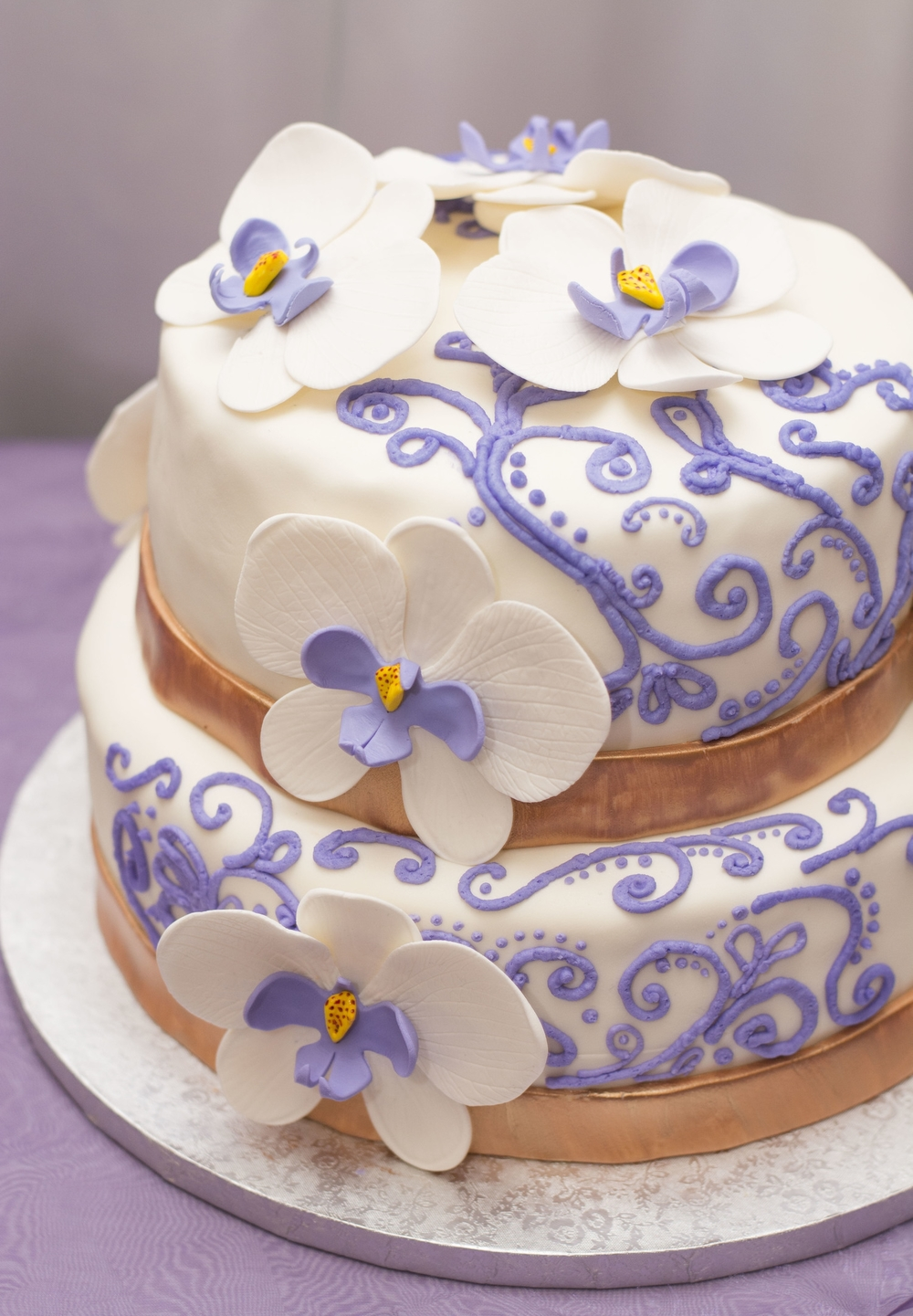 Purple & Gold Wedding Cake — Rain City Cakes