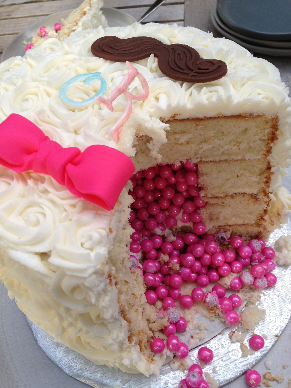 Moustache & Bow Gender Reveal Cake