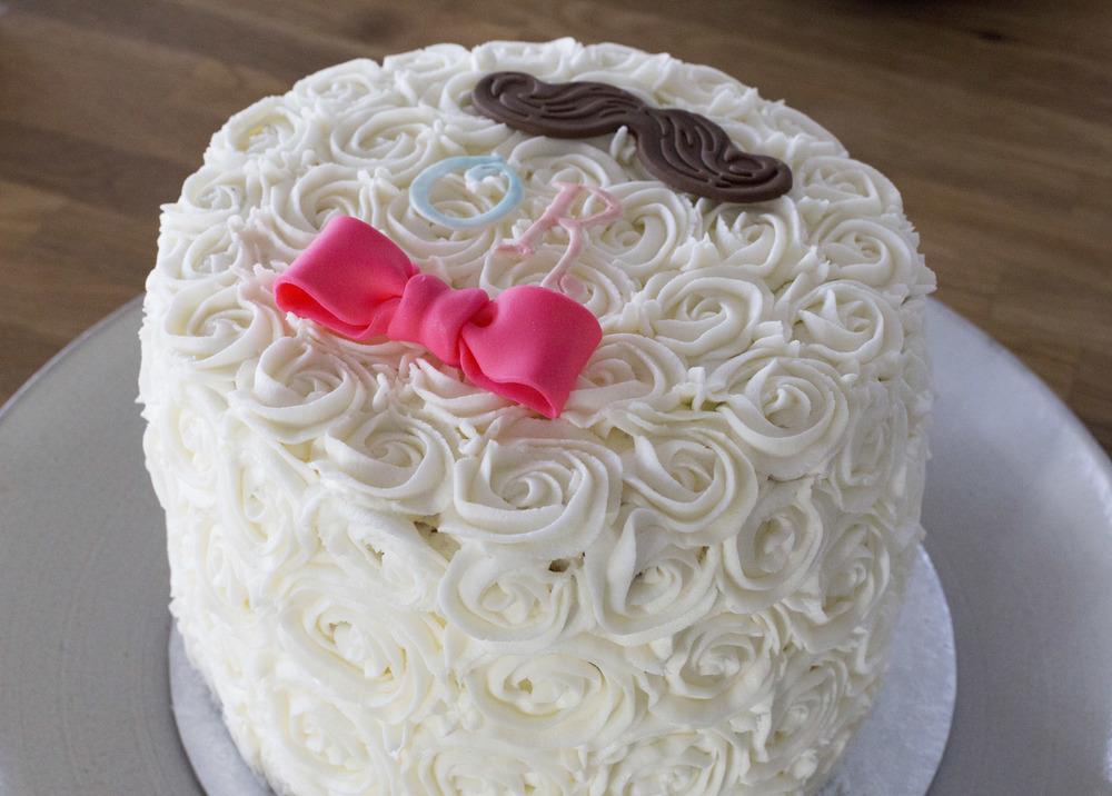 Moustache & Bow Gender Reveal Cake