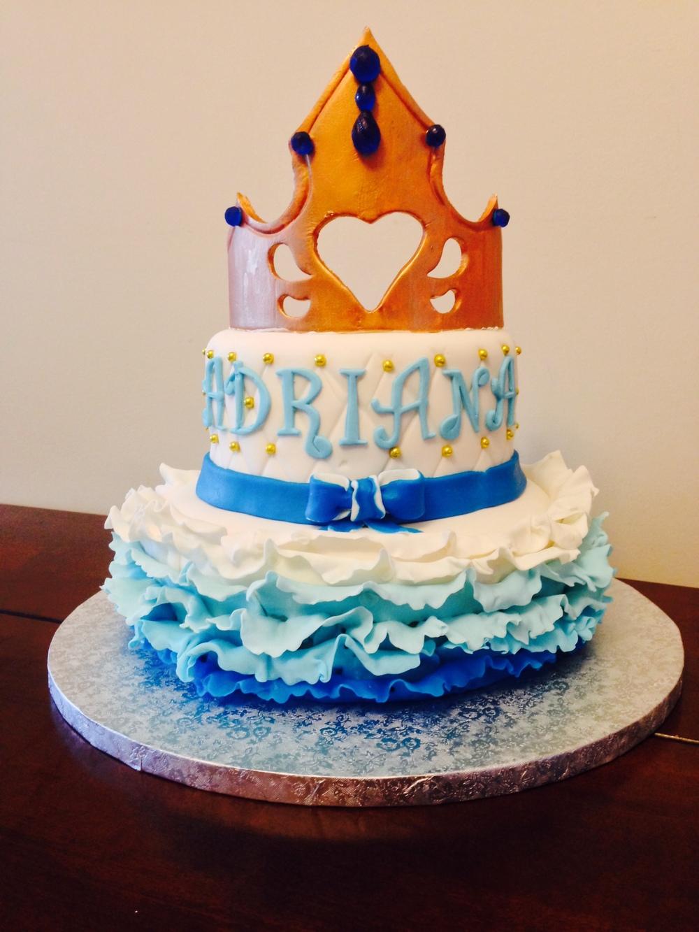 Blue & Gold Princess Cake