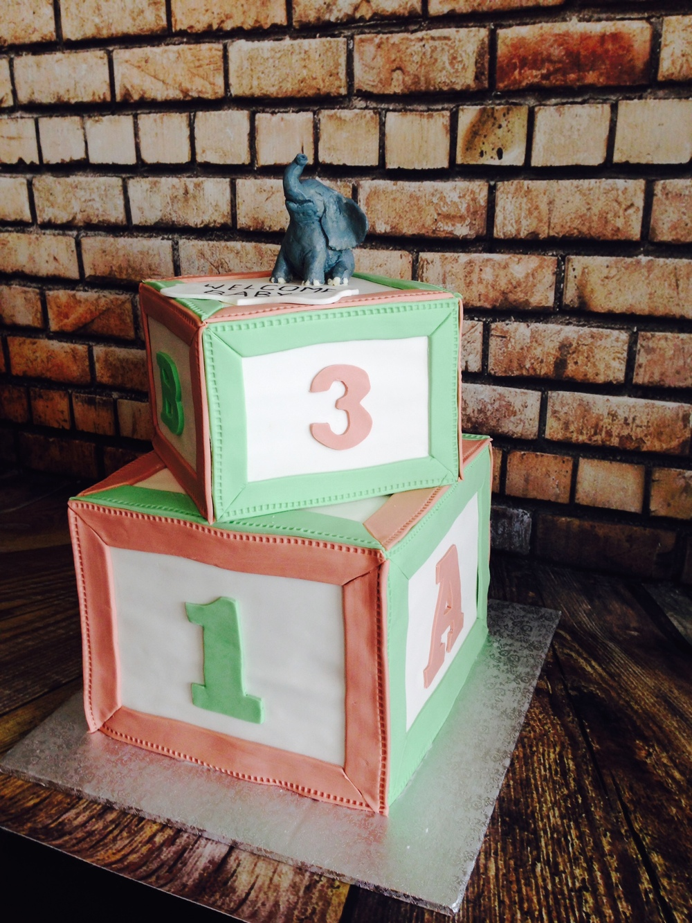 Elephant Baby Block Cake