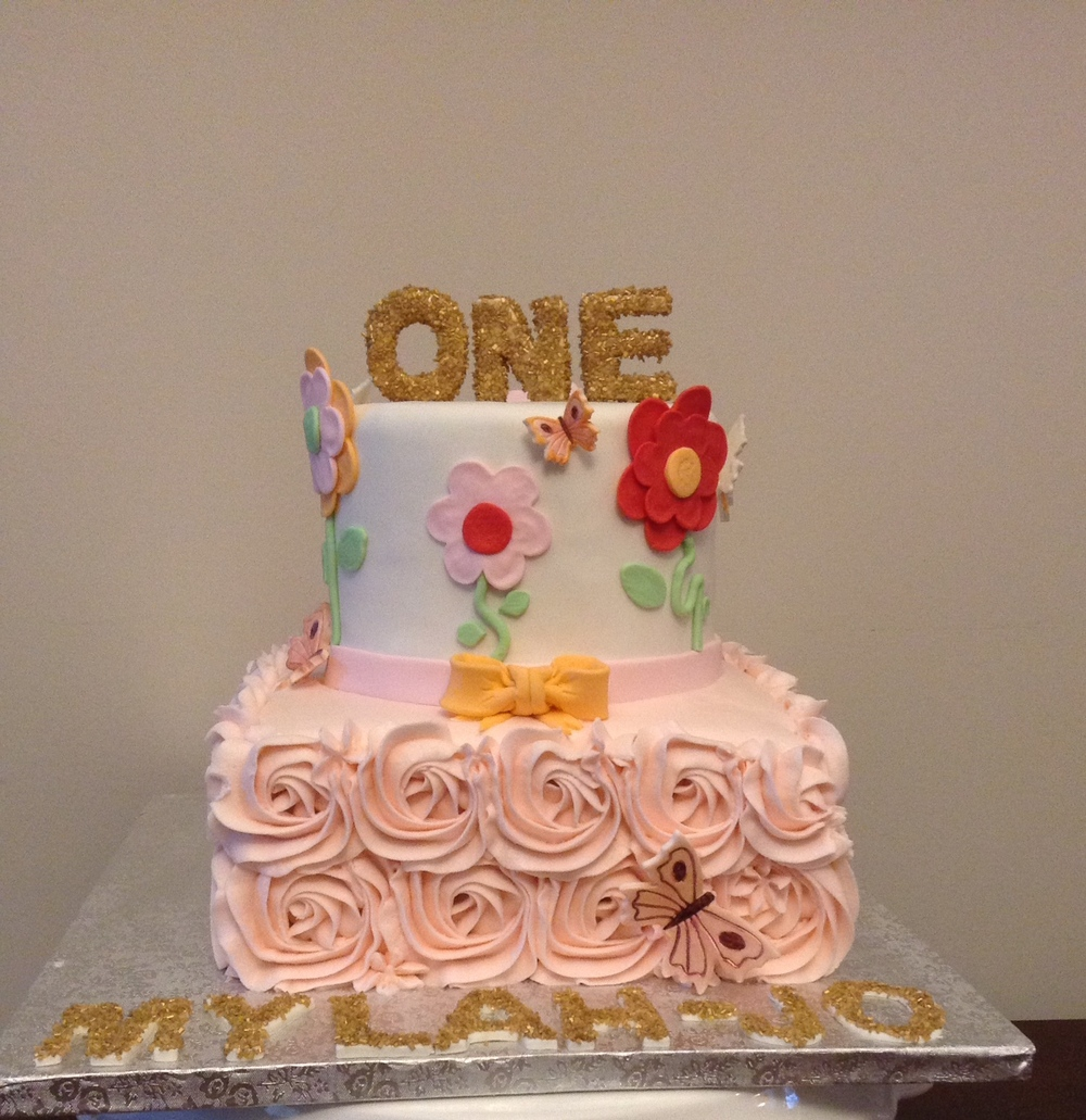 Flowers & Butterflies Cake