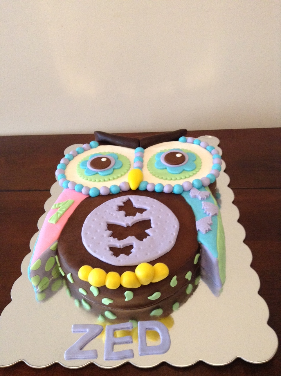 Quilted Owl Cake Side