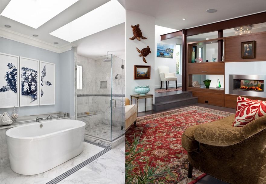 This Sea Turtle triptych by photographer Stuart Redler, hangs nicely in this bath designed by Christine HuvéInteriors. Turtles are hung on the wall creating interest in this design by Tongue and Groove.