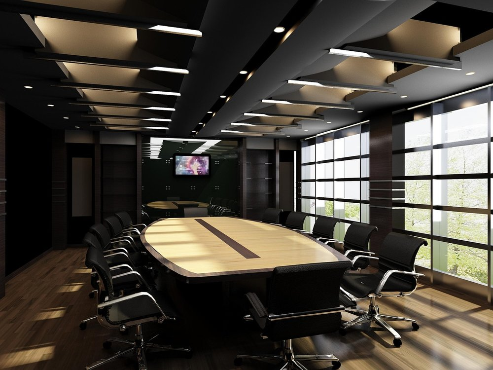 Layers of lighting and other techniques used in this conference room make it a very dynamic, engaging space.