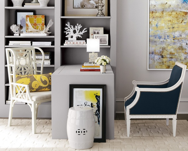 Make room for two chairs instead of one. This can be formal, as in the pic or informal as a seating bench or rolling file drawer storage with a cushion on top. You can create a gorgeous office for your sized space, needs and budget (horchow.com)