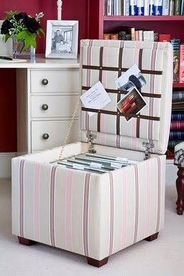 A storage pouf or two is always a good option. Your guest seating doesn't have to be a stand alone chair and can be a bench with a few cushions.