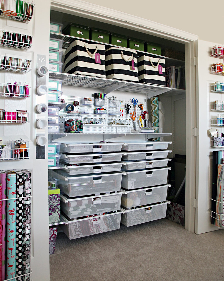 Blow minds with your awesome storage design! This craft station is totally organized with integrated storage that can disappear at the close of a door, or two.