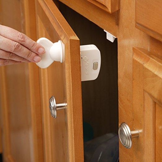This magnetic lock keeps toddlers out of any storage with a drawer or door.
