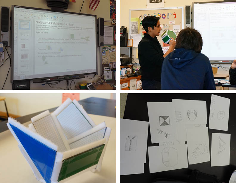 The teacher incorporated the tools I designed - geometric tiles that could connect via velcro - into the lesson. Students created forms and then drew from observation as part of their perspective drawing unit.