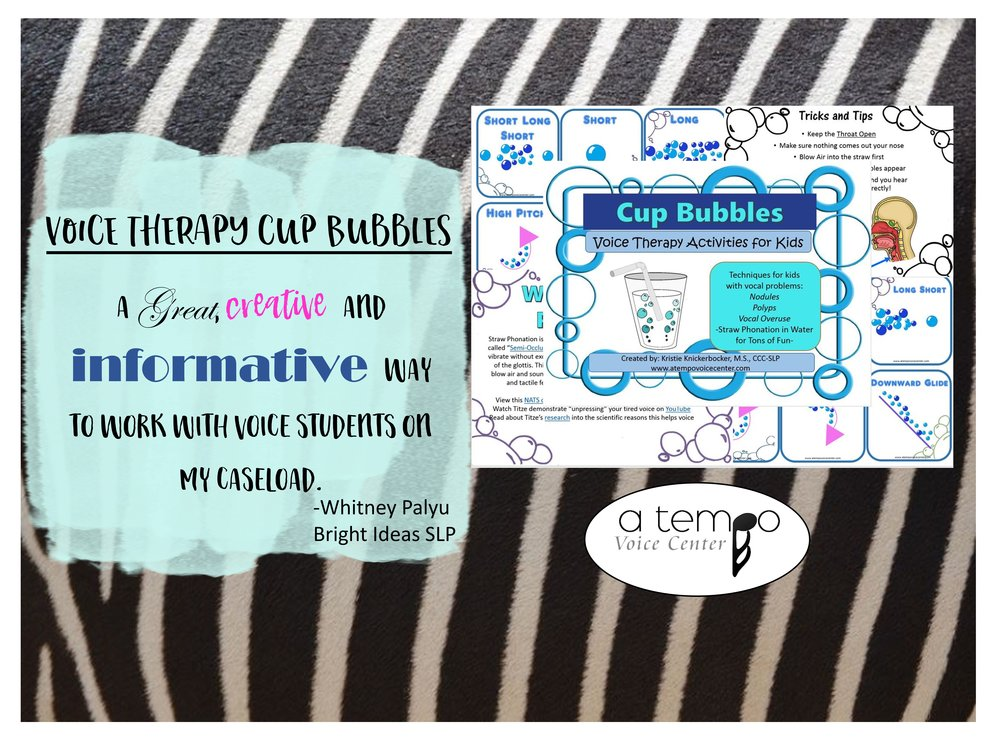 Voice Therapy Cup Bubbles - A great, creative and informative way to work with voice students on my caseload. -Whitney Palyu