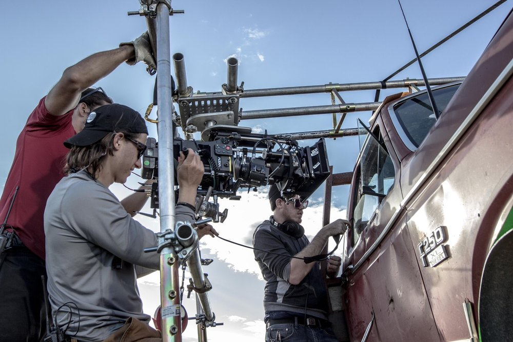 """Positioning camera for process trailer shots in """"Valley of Bones."""""""