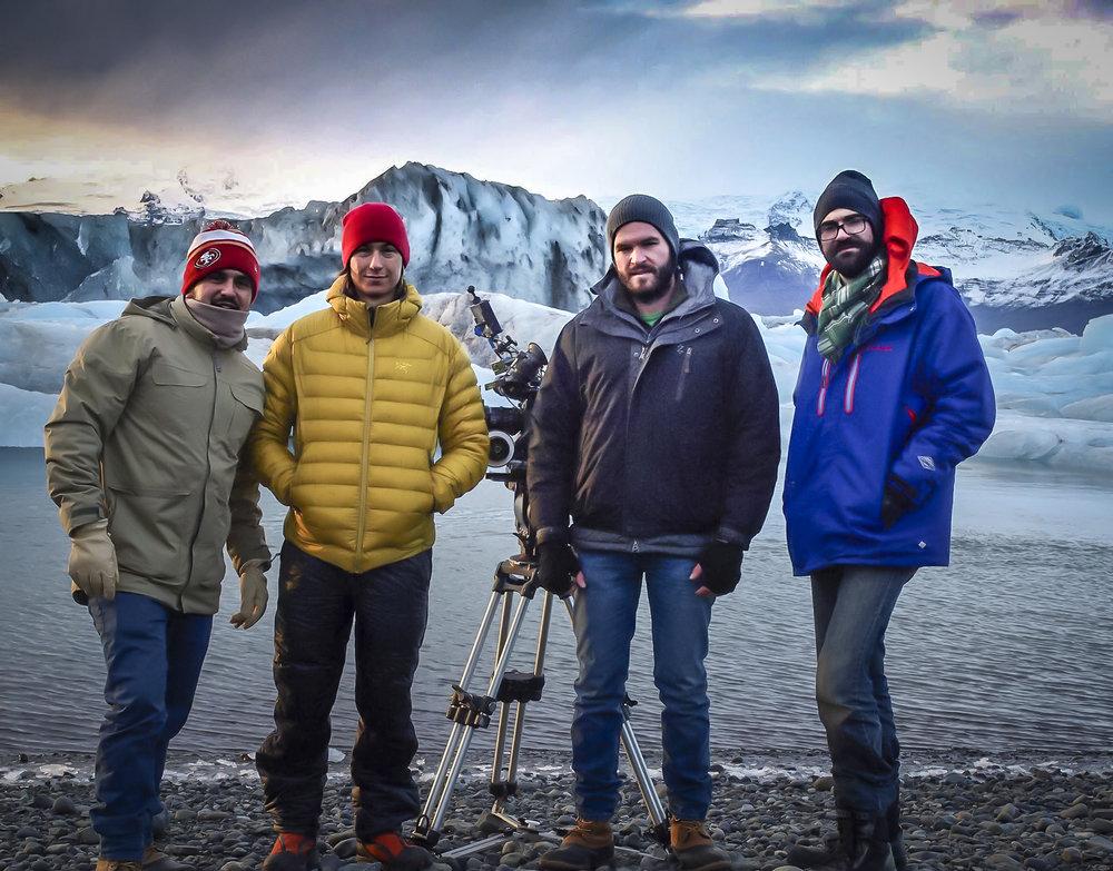 Left to Right: Benny (Gaffer), Stephen (Focus Puller), Michael (DP/Dir/Writer), Matt (Co-Dir/Writer).