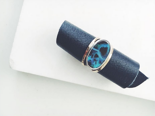 Custom SPACER Ring with Boulder Opal & mixed silver & gold metals -