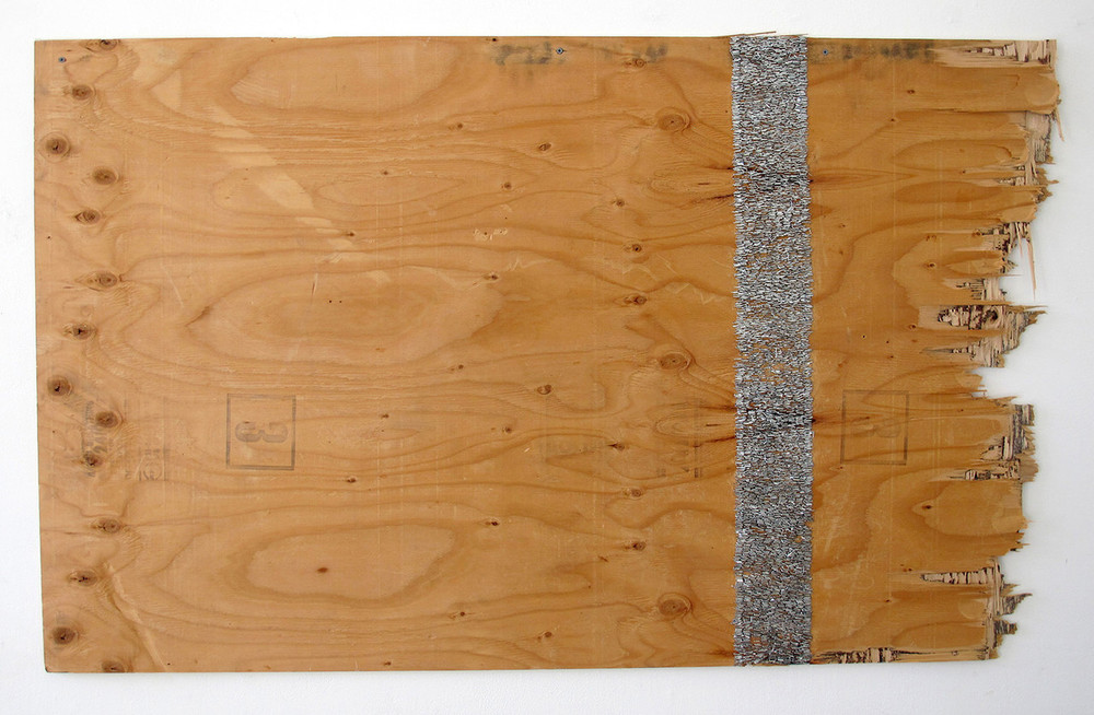 Garth Fry. Ornamental Struggle, 2015. Reclaimed wood, staples, screws.