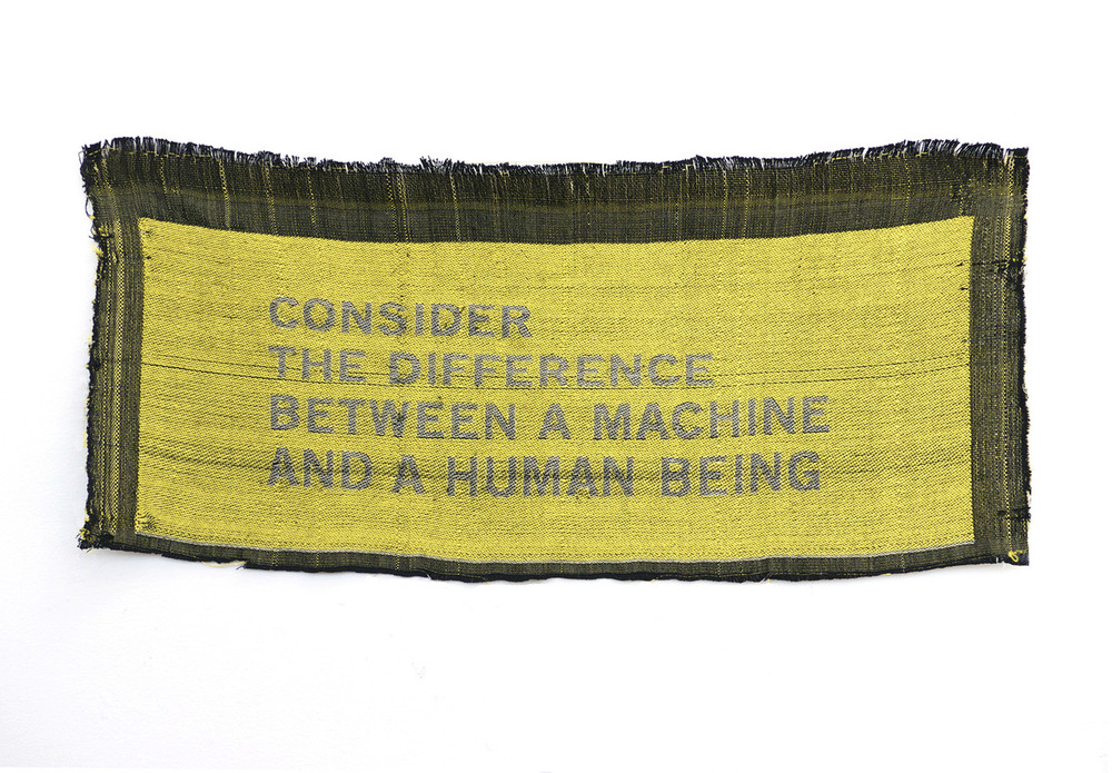 Paulina Berczynski.  Consider the Difference,  2015. Cotton, hand-woven on digital Jacquard loom.
