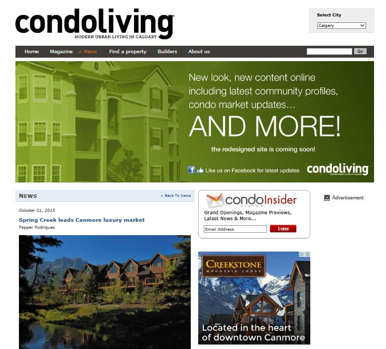 Calgary CONDO LIVING Oct 1, 2015 Spring Creek Leads Canmore Luxury Market... read more