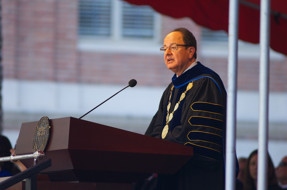 USC President C.L. Max Nikias speaking at the 2013 Convocation