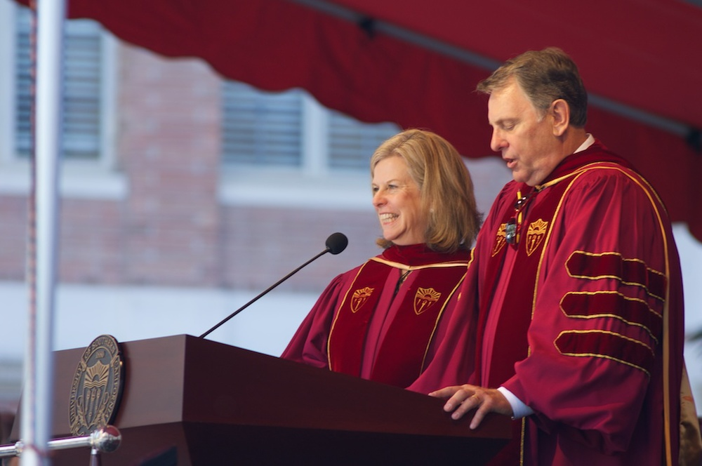John and Julie Mork speaking at the 2011 Convocation