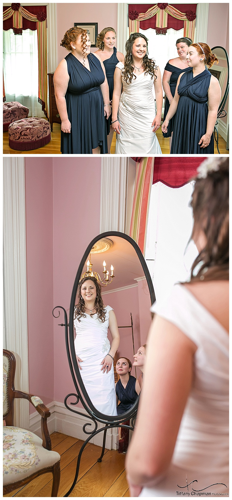 I absolutely adore these two pictures. Nothing makes a bride feel more beautiful then having her bridesmaids admiring her!