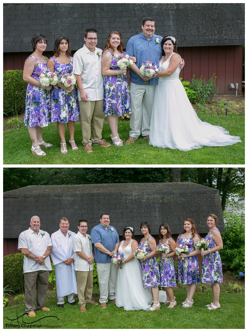The new family (top photo) and the sweet Bridal Party (bottom photo). Love the smiles.