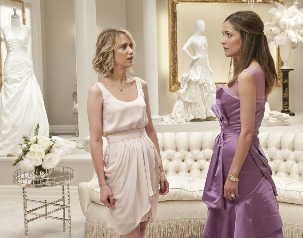 Find your bridesmaids dresses. Bridesmaids can argue over what dress is better, the cost and the style. Get this sorted out early in the piece. Image: Universal Pictures 'Bridesmaids' featuring Kristen Wiig and Rose Byrne.