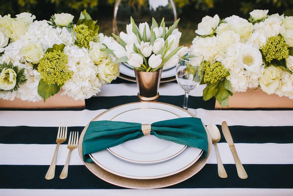 grey likes weddings kate_spade_emerald_gold_wedding_stripes_polka_dots_5.jpg