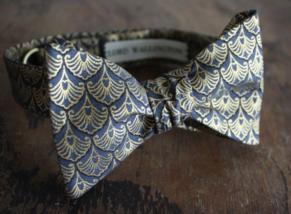 Gentleman's Q.E.D. Black With Gold Accents Bow Tie Handmade by Lord Wallington.jpg