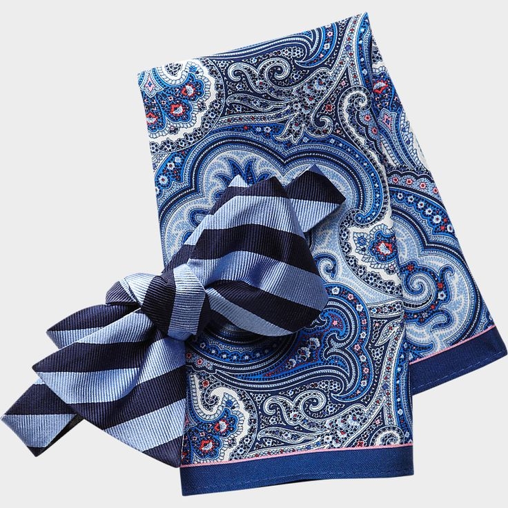Mens Wearhouse - Tommy Hilfiger Blue Stripe Bow Tie and Paisley Pocket Square Set - Bow Ties.jpg