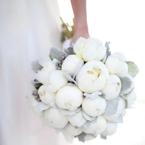 Peony create a full and cotton like look. They work really nicely with soft floaty gowns and pale blue bridesmaids dresses #Peonies #Bouquet #Flowers #InspirationoftheDay #WeddingInspiration #WeddingPlanning #TheBridalCoach #KissesandCake #KissesandCakeWeddings   Image: thelane.com. Photographed by Robyn Michele Photography.