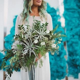 When playing with bright and bold colours, compliment your surroundings with neutral coloured accessories, such as this extraordinary bouquet #Bouquet #Flowers #GreenWeddingShoes #Teal #Copper #SmokeBomb #WeddingStyling #WeddingInspiration #WeddingPlanning #TheBridalCoach #KissesAndCake #KissesAndCakeWeddings | Image: Green Wedding Shoes - shoot, designed + planned by LB Event Planning, styled + installed by Jesi Haack Design and photographed by Laura Goldenberger