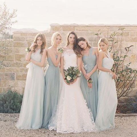 "Style your bridesmaids in a sea of beautiful blues #SeaBlue #Bridesmaids #Gown #BridalStyling #JennyYoo #WeddingInspiration #WeddingPlanning #TheBridalCoach #KissesAndCake #KissesAndCakeWeddings   Image:Jenny Yoo ""Annebelle"" bridesmaids gowns via Pinterest"