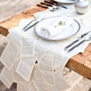 We believe anything is possible, like recycling pages of old books for a table runner #Recycle #Reuse #Books #WorthAThousandWords #TableSetting #WeddingDecor #WeddingInspiration #WeddingPlanning #TheBridalCoach #KissesAndCake #KissesAndCakeWeddings | Image: Popsugar