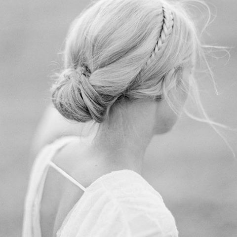 Pull your hair into an elegant updo and add a simple braid for your wedding #WeddingHair #Hair #HairStyling #Beauty #Bride #BrideToBe #WeddingInspiration #WeddingPlanning #TheBridalCoach #KissesAndCake #KissesAndCakeWeddings | Image: Once Wed