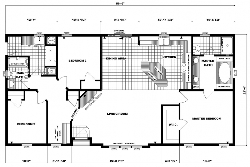 G 1799 pine grove homes for Wide ranch house plans