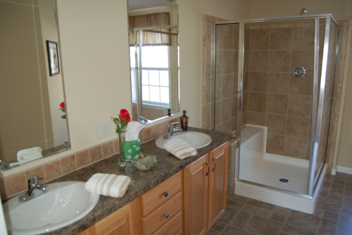 Master Bath W Double Vanity And Ceramic Tile Shower Natural Oak Cabinetry