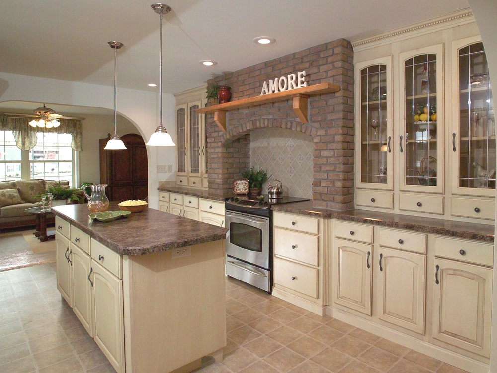 white kitchen cabinets travertine floor brick hearth pine grove homes 28954