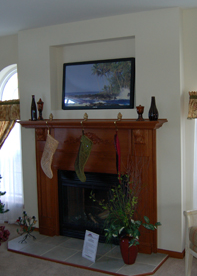 SPICE CHERRY FIREPLACE SURROUND W/FLAT HEARTH, CHERRY MANTLE