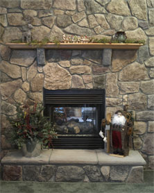 BUCKS COUNTY FIELD STONE FIREPLACE SURROUND W/RAISED HEARTH, OAK MANTLE