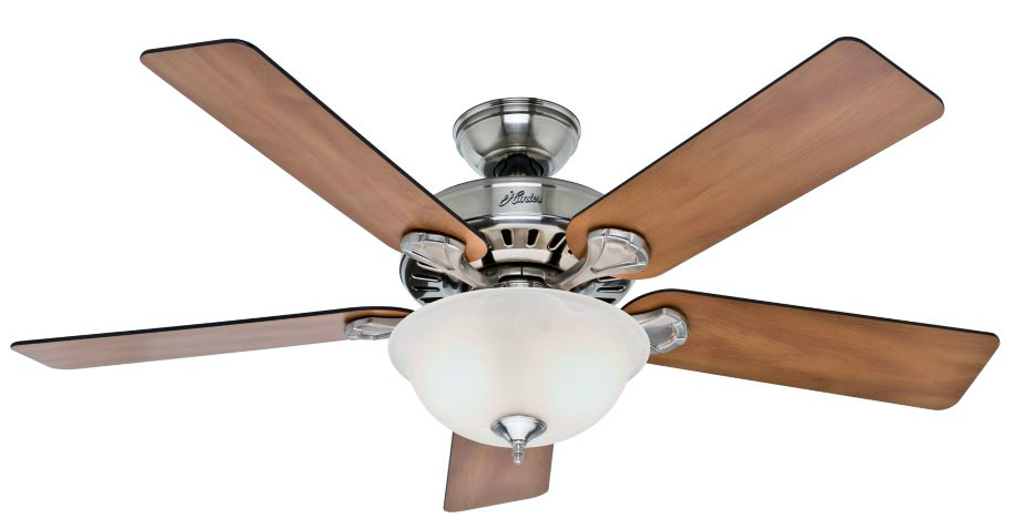 Hunter 52-Inch Brushed Nickel Ceiling Fan with Five Chestnut/Blackened Rosewood Blades and Glass Bowl Light Kit