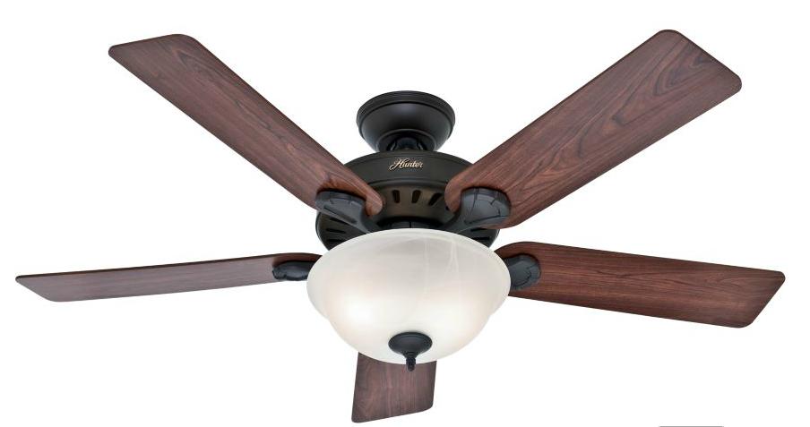 Hunter 52-Inch 5-Blade Single Light Five Minute Ceiling Fan, New Bronze with Dark Cherry/Medium Oak Blades
