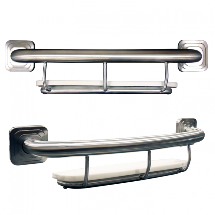 "18"" Shampoo Shelf w/grab bar (available in Chrome, stainless, or nickel)"