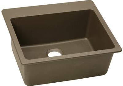 Elkay E-granite 25/22 Single Bowl w/matching drain - Mocha