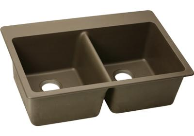 Elkay E-granite 33/22 double bowl w/ matching drain - Mocha