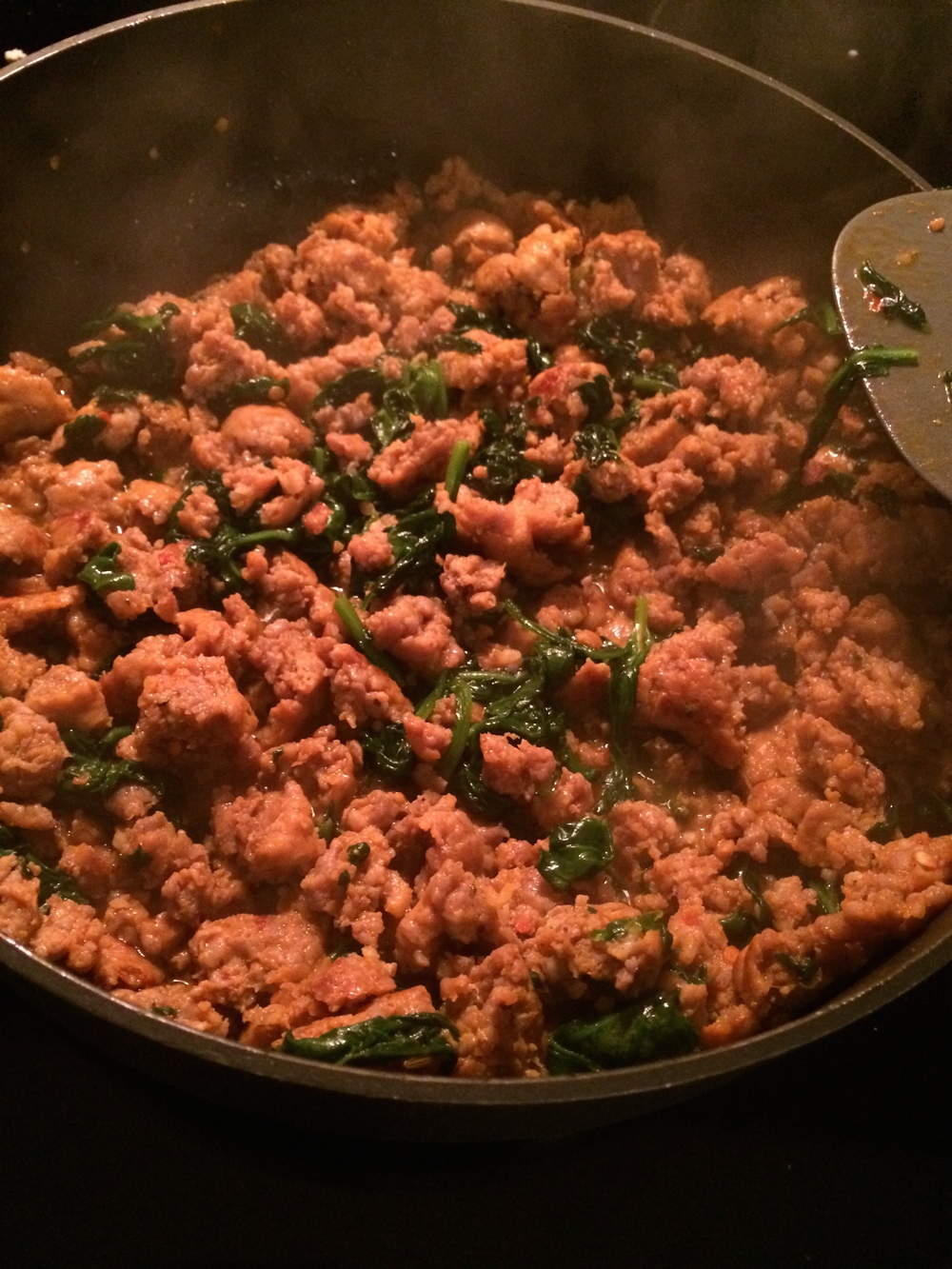 Here is how my sister cooks up her sausage for her weekly egg bake. She chooses to cook down her spinach with her sausage. Do whatever works best for you!